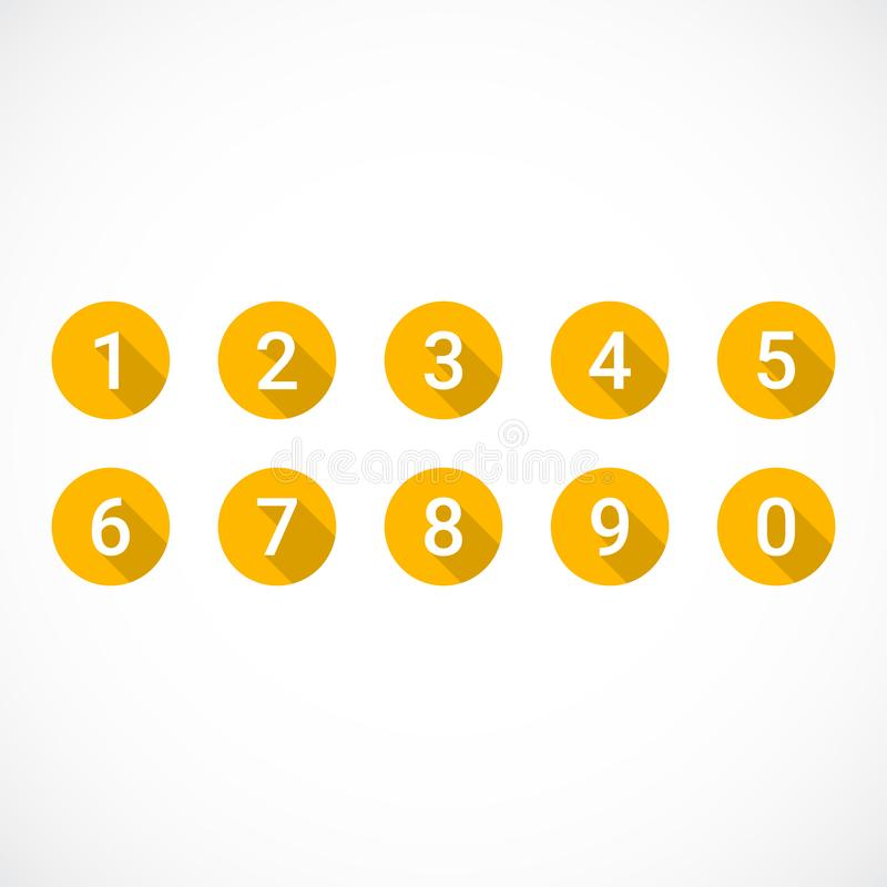 Set 0-9 liczb Set pomarańcze liczby ikony ilustracja wektor