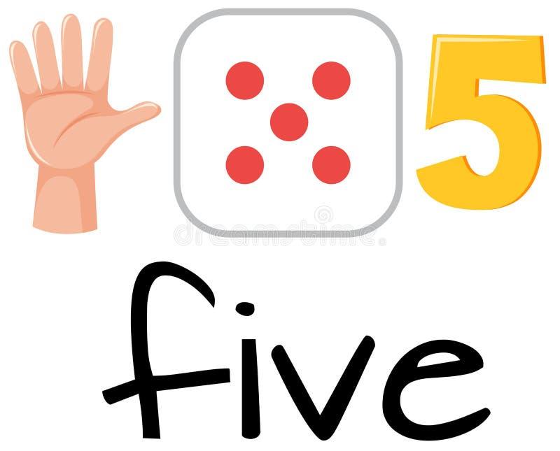 Set liczba pięć royalty ilustracja