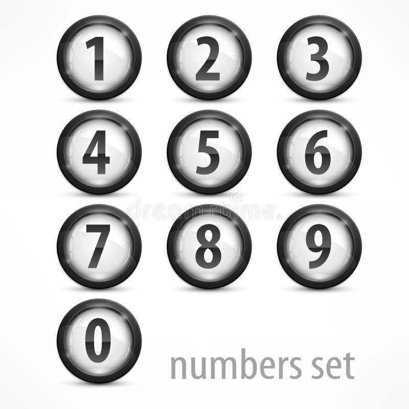 Set liczby na bielu royalty ilustracja