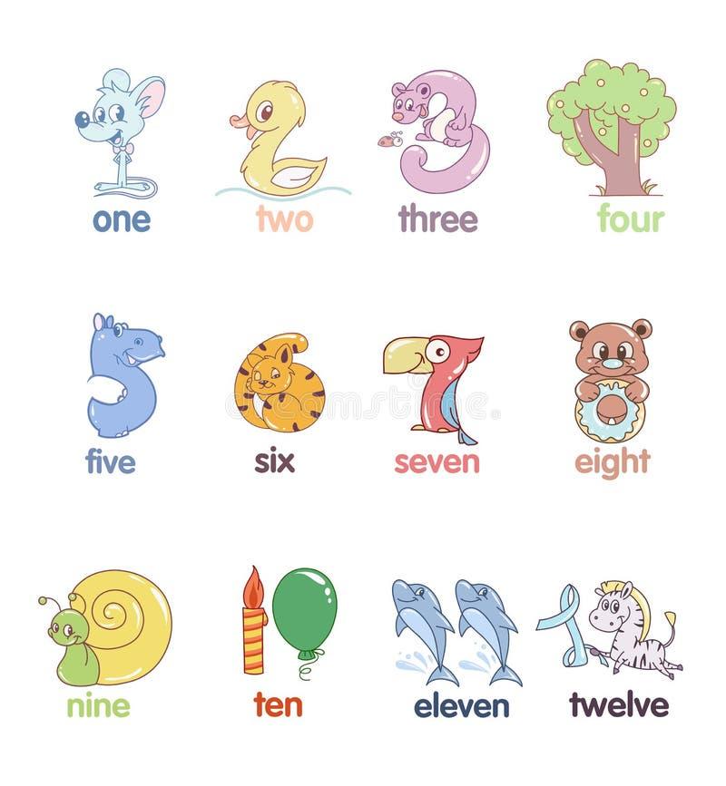 Set liczby w postaci zwierząt ilustracji