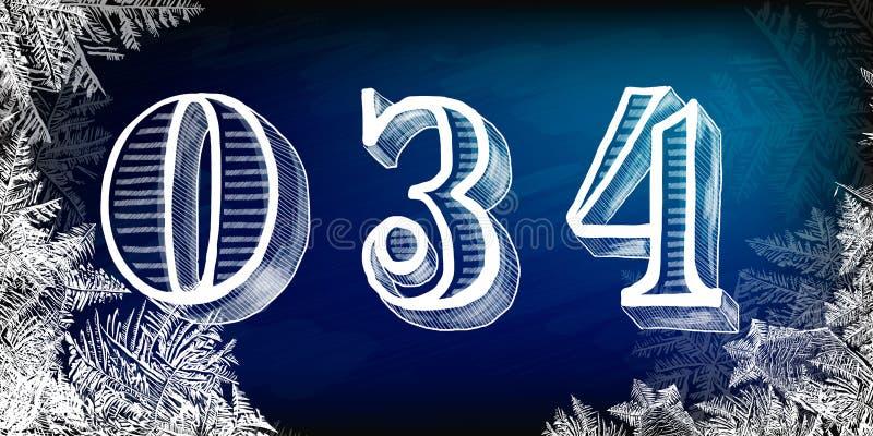 Set liczby z zima tematem dla bożych narodzeń Wektorowa ręka rysować liczby Wektor kredy liczby Wektorowe doodle liczby royalty ilustracja