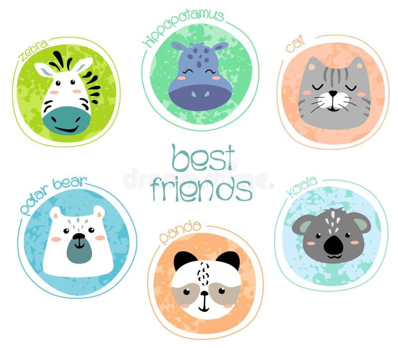Set ?liczne zwierz?ce twarze Kreatywnie animalistyczny druk z ramą, zebra, koala, hipopotam, panda, niedźwiedź, kot, kartki z poz royalty ilustracja