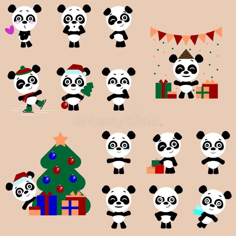 Set ?liczny panda charakter z r??nymi emocjami Wektorowy kresk?wki pandy charakter royalty ilustracja