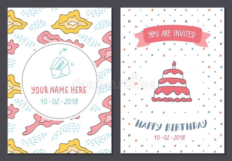 Set ?liczny urodzinowy karcianego projekta szablon royalty ilustracja