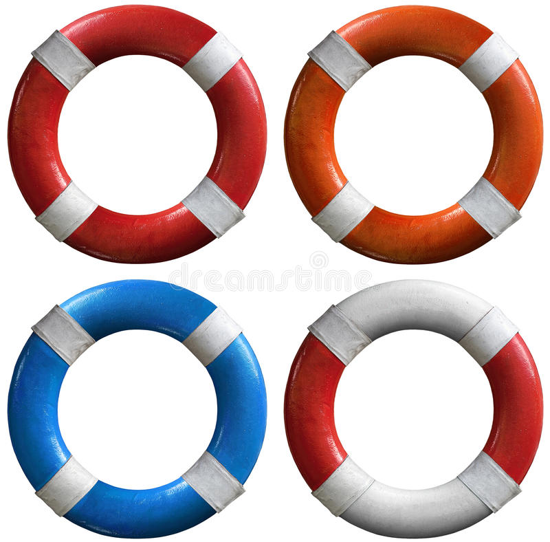 Set of life buoys stock photos