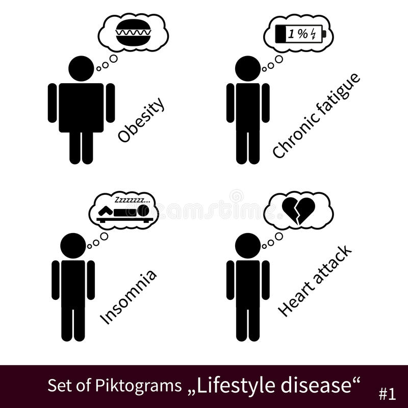 Set Of Lifestyle Disease Pictograms #1 Stock Vector ...