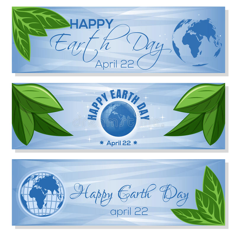 Set light blue banners for Earth Day. April 22. Set light blue banners for Earth Day with globe, green leaves and greeting inscription. Happy Earth Day. April 22 stock illustration