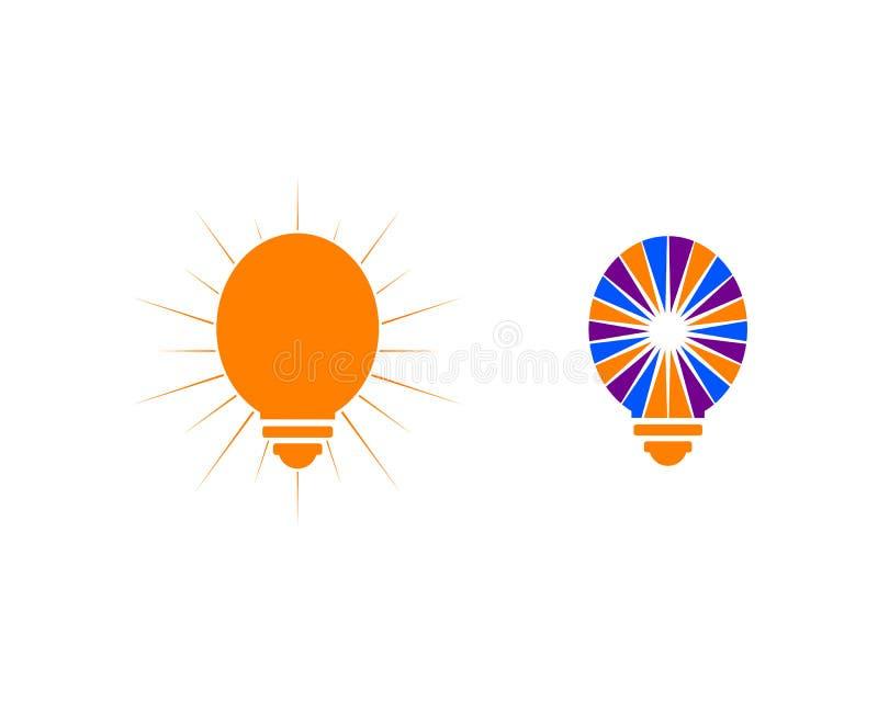 Set of Light bulb design logo template. Light bulb logo stock illustration