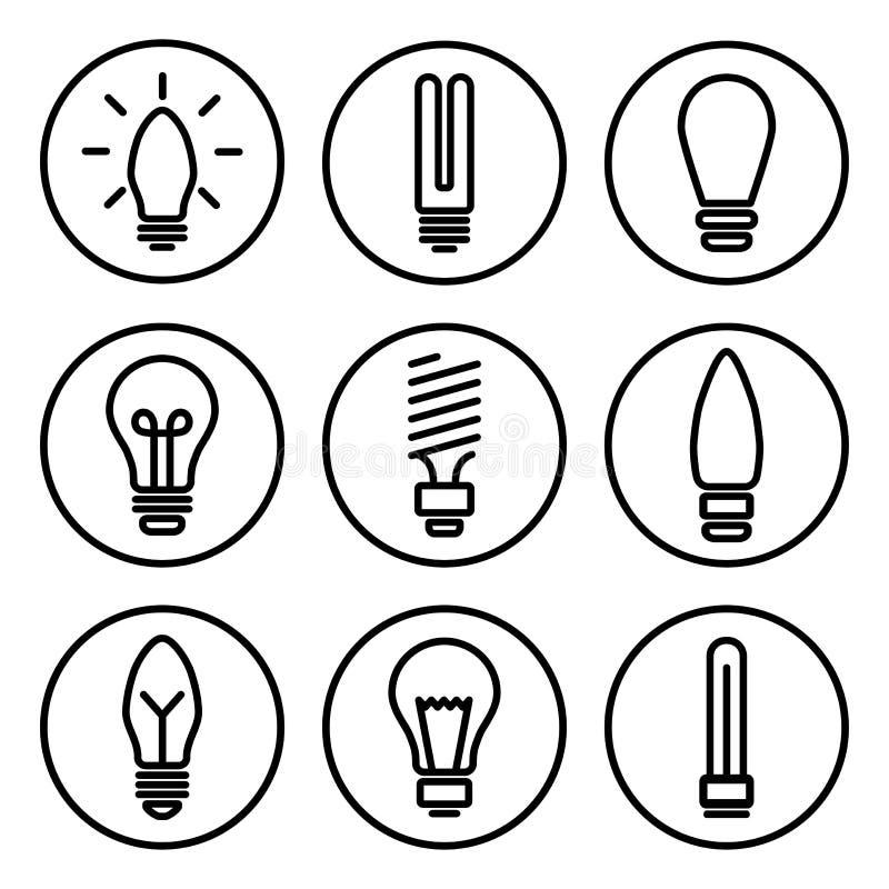 Set of light bulb icons, different lamp, Black round pictogrames, outline design. Vector. Illustration royalty free illustration