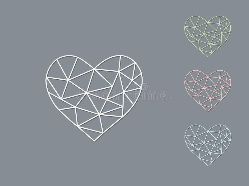 A set of light color geometric heart shapes of making love with shadow on dark background. Vector illustration stock illustration