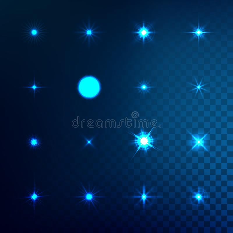 Set of light effect stars with sparkles royalty free illustration