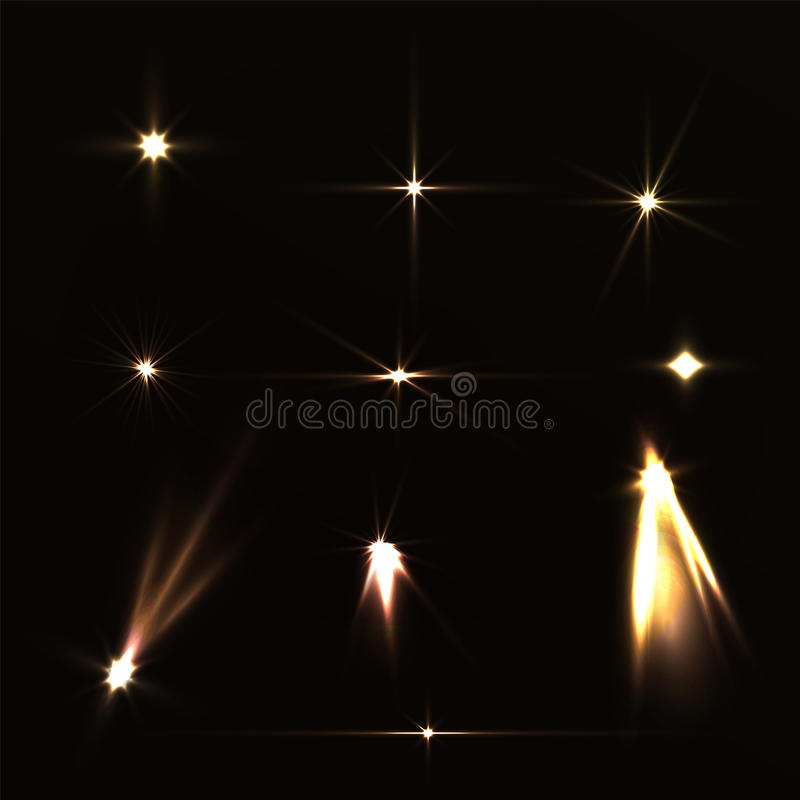Set light effects yellow bright on dark background. Magic collection lights for holiday. Lights from the spotlights. Raster shiny stock photos