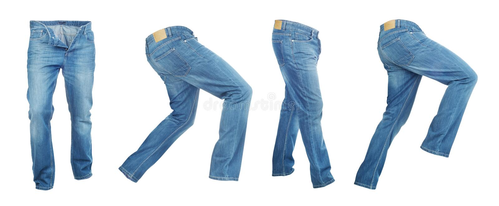 Set of light empty denim pants. On a white background stock images
