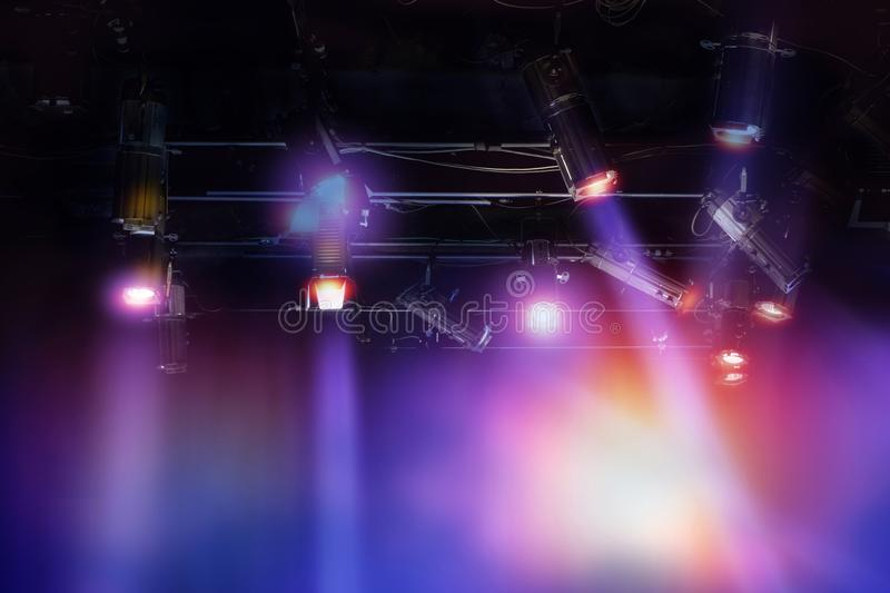 Set of light hanging in television studio. royalty free stock image