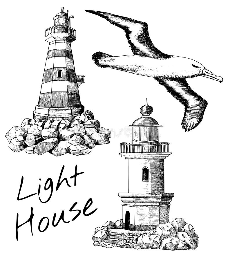 Set with light houses and gull. Vintage design collection with old light houses and flying gull, set with hand drawn elements vector illustration