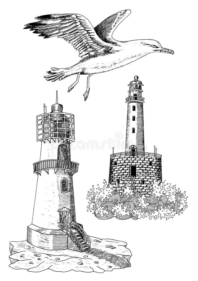 Set with light houses and gull 2. Vintage design collection with old light houses and flying gull, set with hand drawn elements royalty free illustration