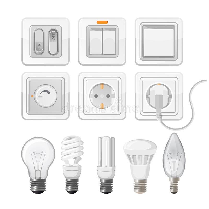 Set Of Light Saving Bulbs, Electric Switches, Plastic Dimmers Stock ...