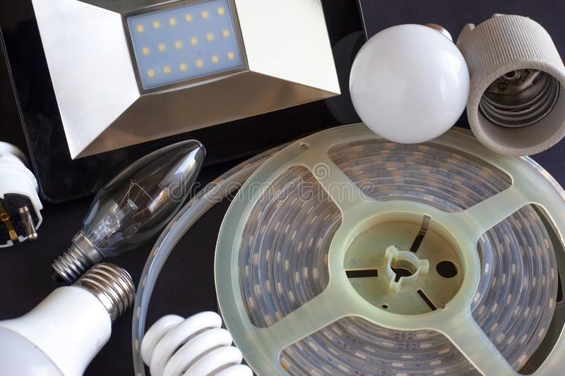 A set of lighting fixtures for the home, electric lamps for lighting led and eco lamp royalty free stock images