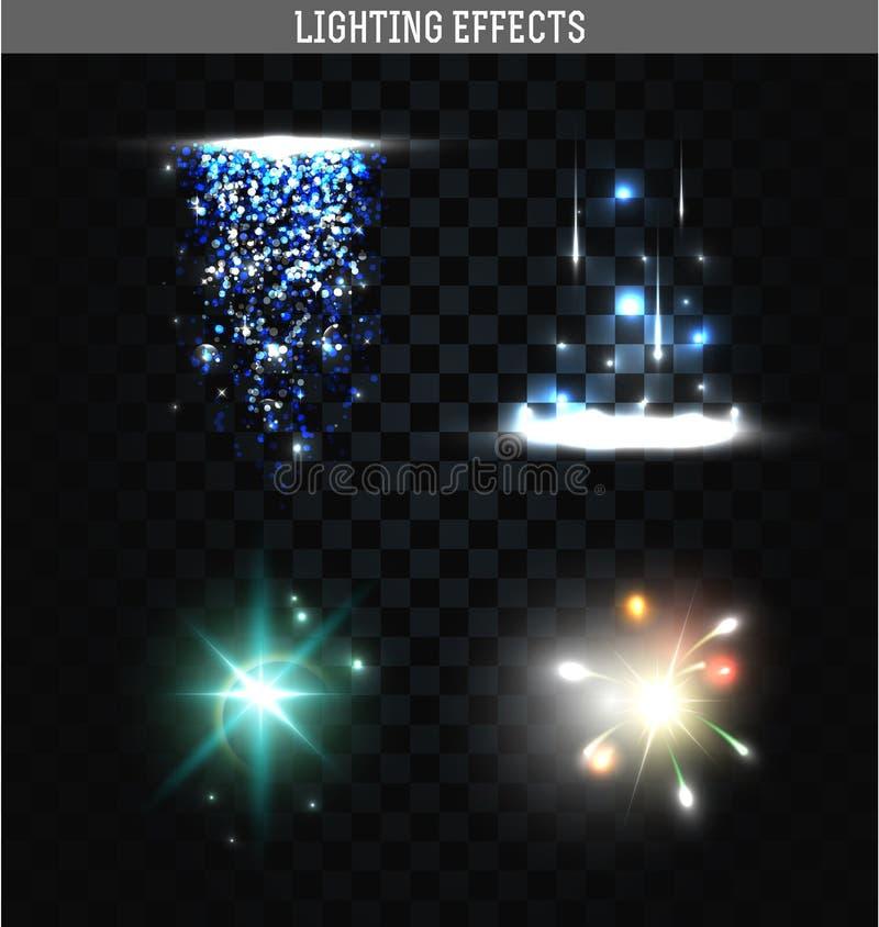 Set of lighting isolated effects. Magic, bright stars vector illustration