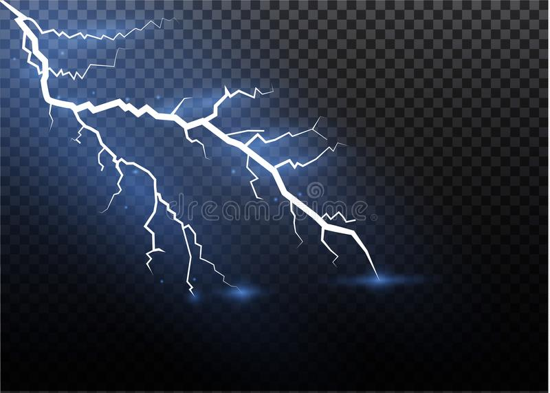 A set of lightning Magic and bright light effects. Vector illustration. Discharge electric current. Charge current royalty free illustration