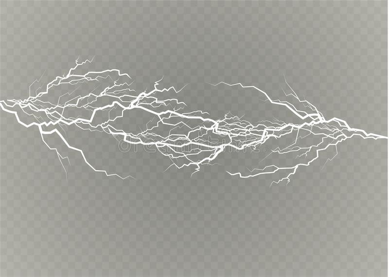 A set of lightning Magic and bright light effects. Vector illustration. Discharge electric current. Charge current stock illustration