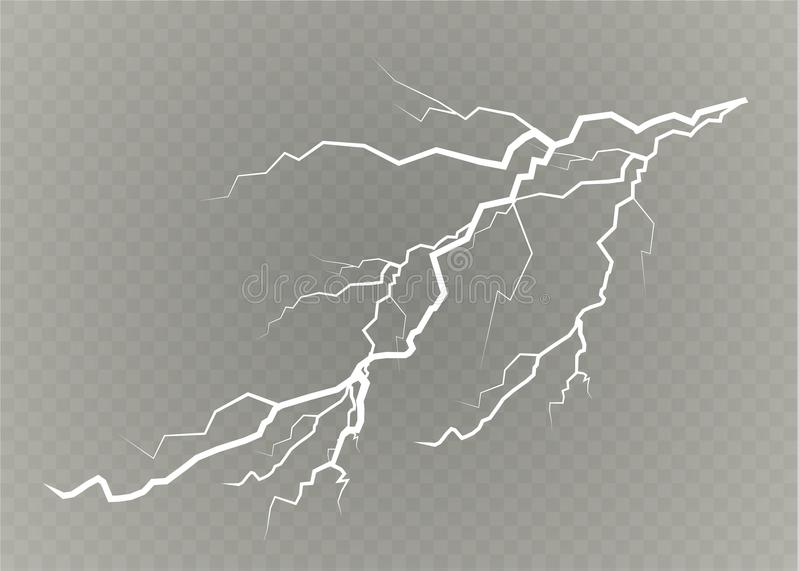 A set of lightning Magic and bright light effects. Vector illustration. Discharge electric current. Charge current vector illustration