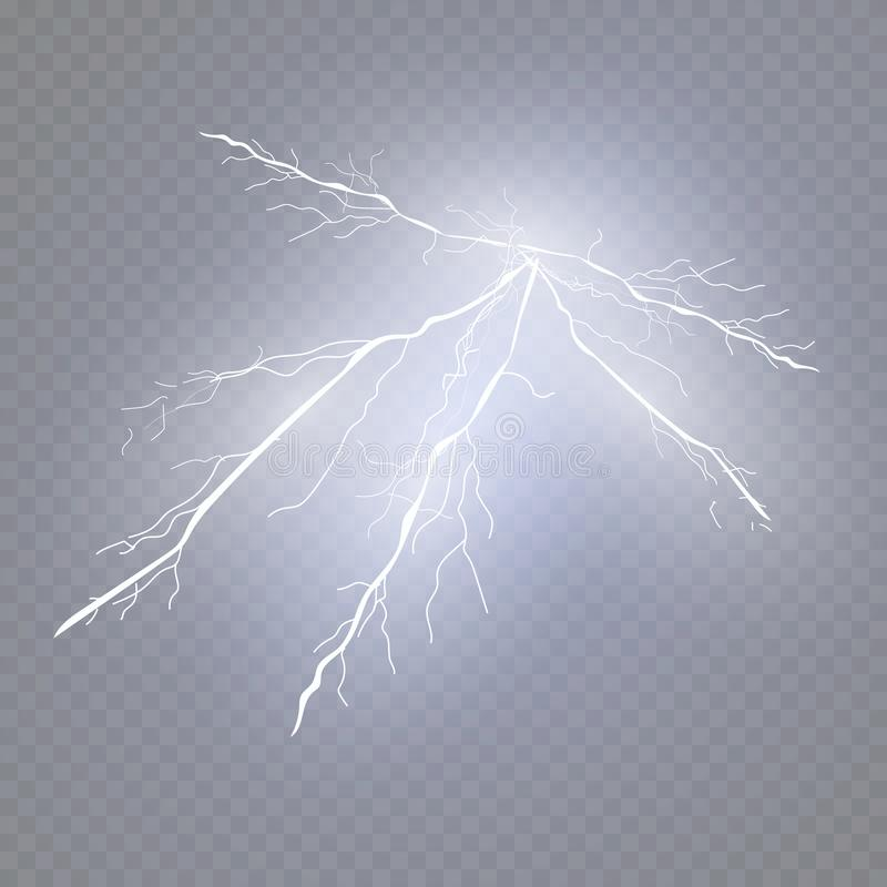 A set of lightning Magic and bright light effects. Vector illustration. Discharge electric current. stock illustration