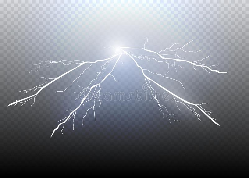 A set of lightning Magic and bright light effects. Vector illustration. Discharge electric current. royalty free illustration