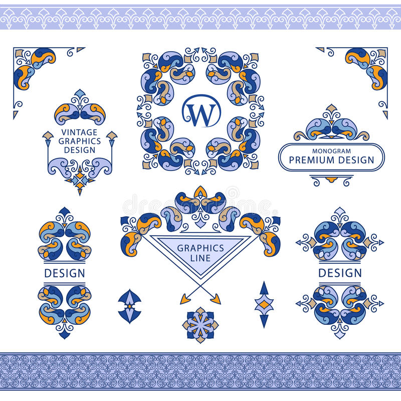 Set of line art frames and borders for design template. stock illustration