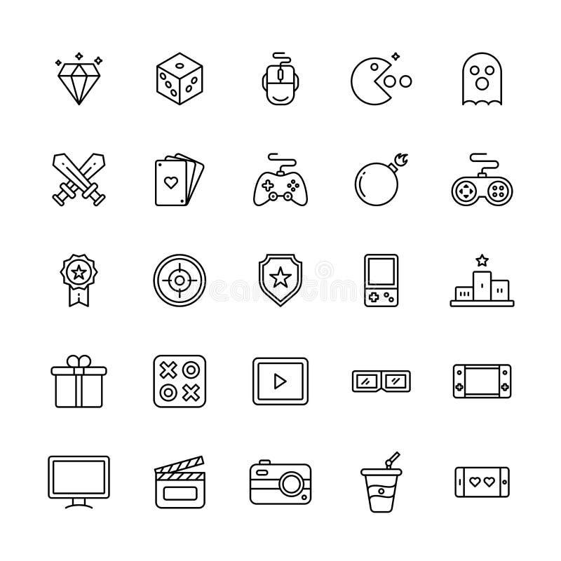 Set of line art icons of entertainment. stock illustration