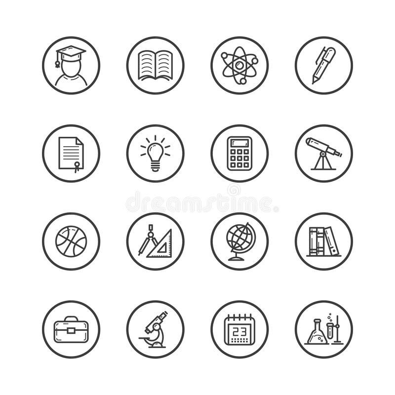 Set of line art isolated icons on the theme of study and education royalty free illustration