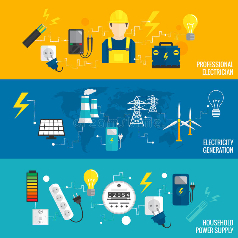 Set of line banner energy generation vector illustration