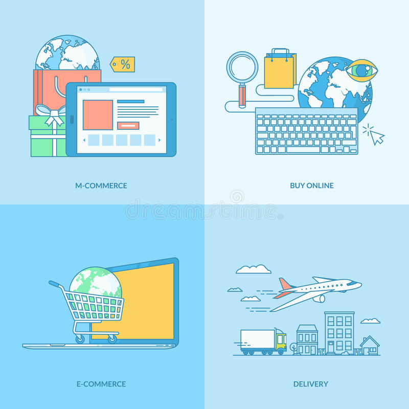 Set of line concept icons for e-commerce stock illustration