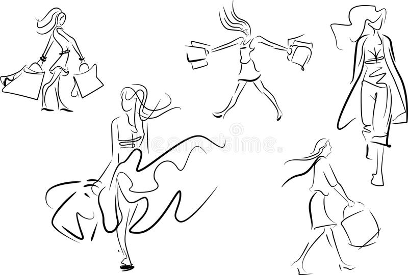 Set of line doodle sketches of a woman shopping stock illustration