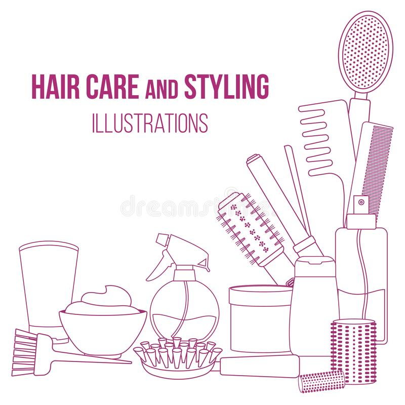 Tools and hair care products. Set of line equipments for styling and hair care. Products and tools for home remedies of hair care. Vector royalty free illustration