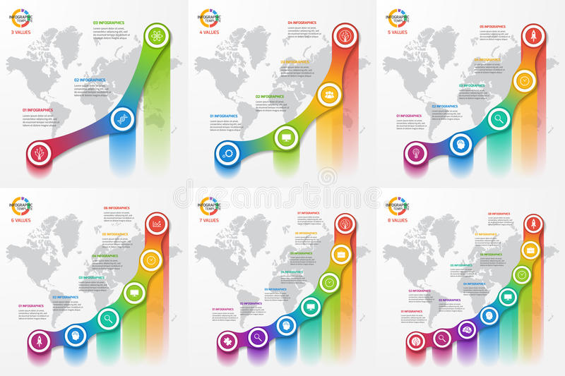 Set of line graph infographic templates for charts and diagrams. Business, education, industry, science concept with 3-8 values, options, parts, steps stock illustration