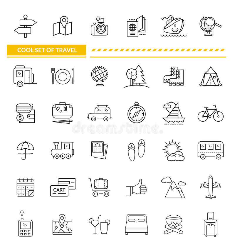 Set of Line Icon Concept Travel royalty free illustration