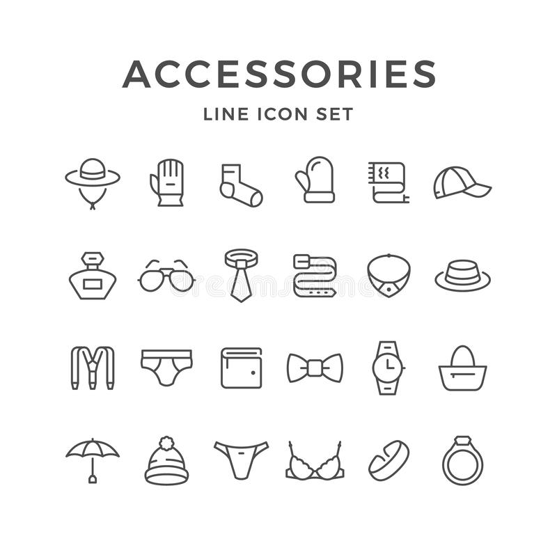 Set line icons of accessories vector illustration