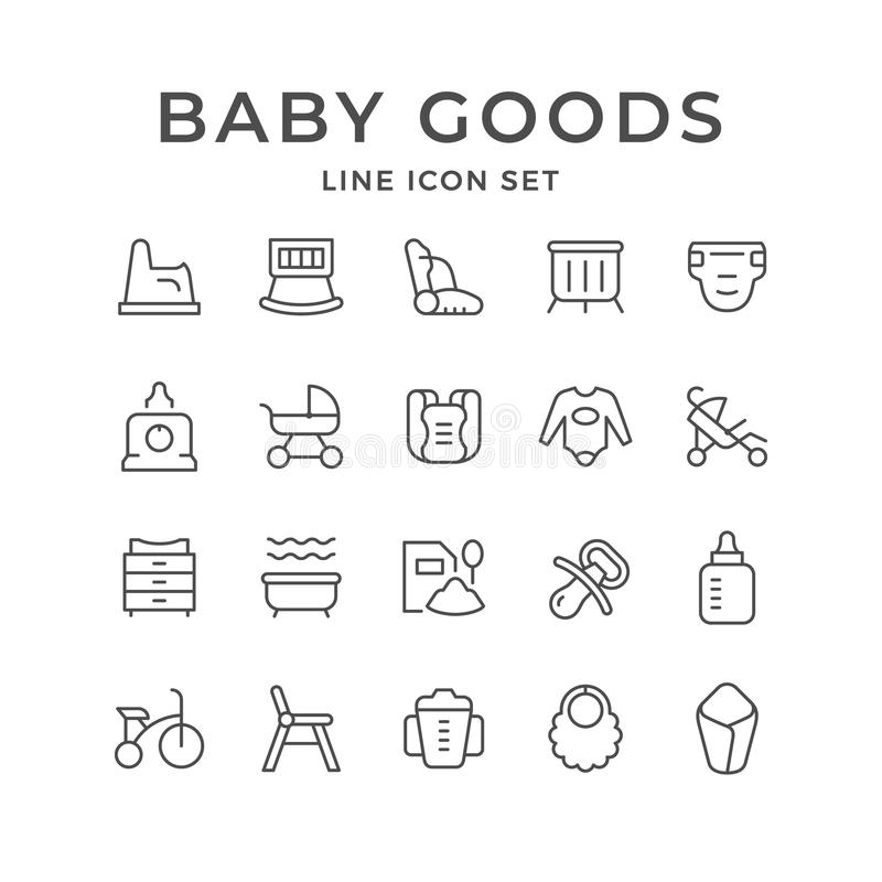 Set line icons of baby goods royalty free illustration
