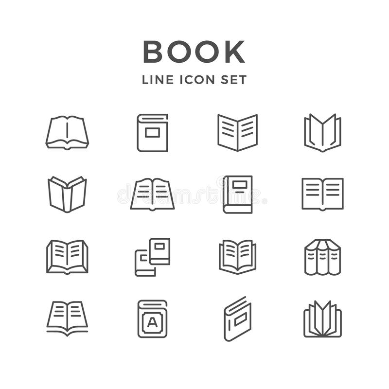 Set line icons of book stock illustration