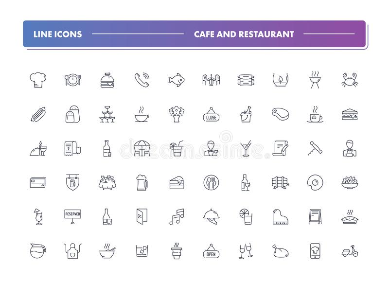 Set of 60 line icons. Cafe and restaurant vector illustration
