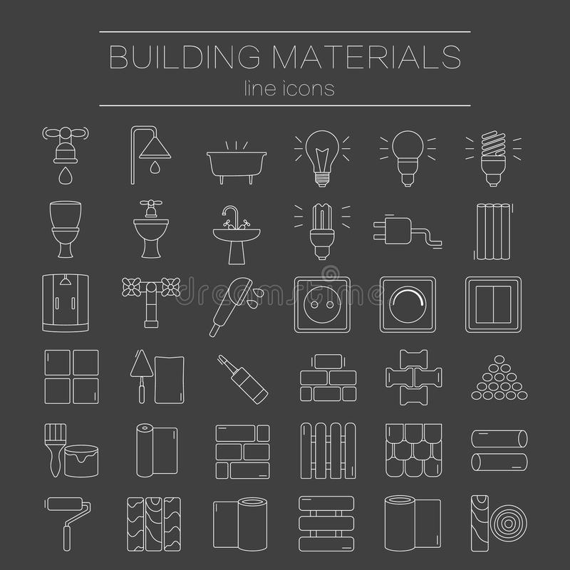 Set of line icons for DIY, construction, building materials. stock illustration