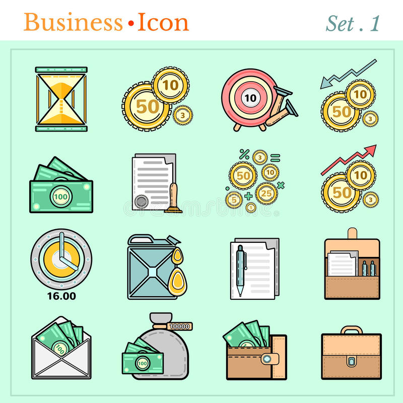 Set line icons with flat design elements of business and finance stock illustration