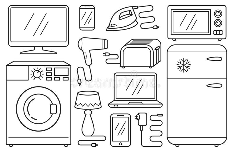 Set of line icons - home appliances, household aids, devices, white goods, black pictograms. Isolated on white background stock illustration