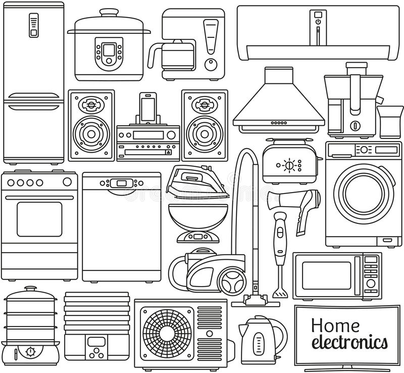 Set of line icons. Home appliances. Oven and toaster, fridge and freezer, stove and dishwasher. Contour icons. Info graphic elemen stock photo