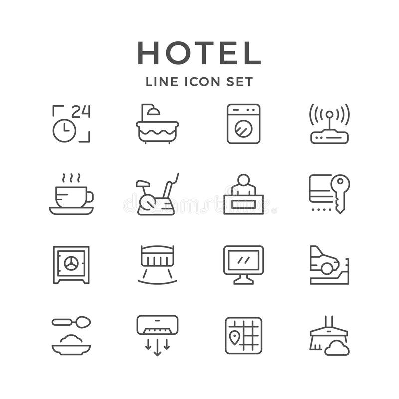 Set line icons of hotel vector illustration