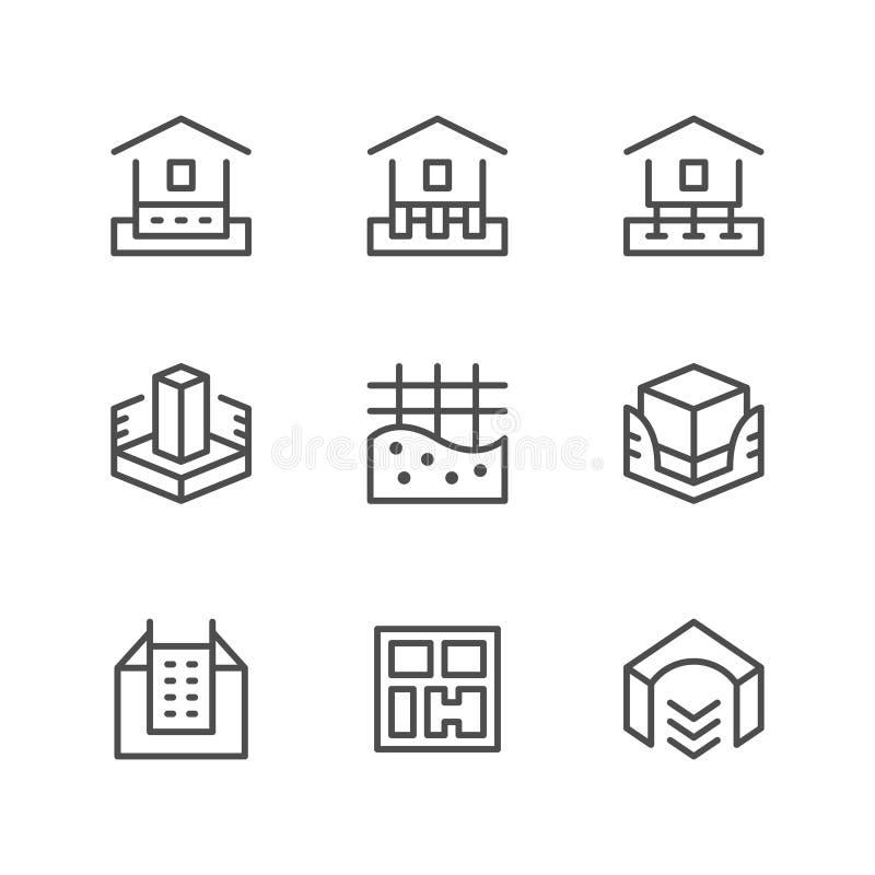 Set line icons of house foundation. Isolated on white. Vector illustration stock illustration