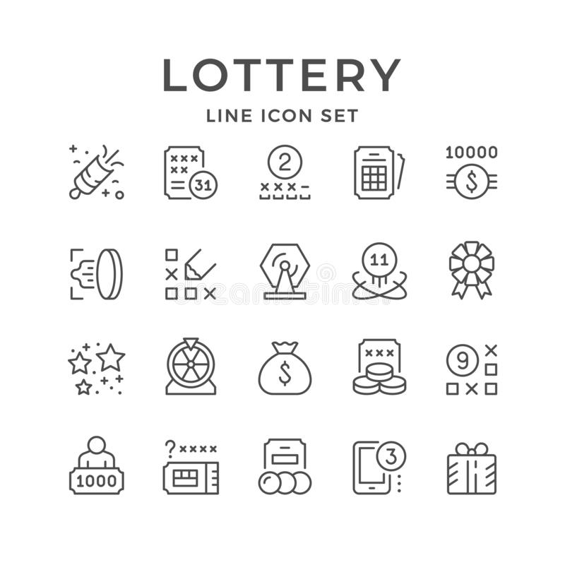 Set line icons of lottery stock illustration