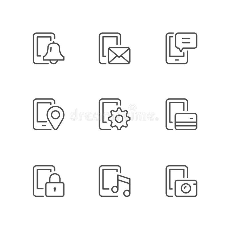 Set line icons of mobile phone functions vector illustration