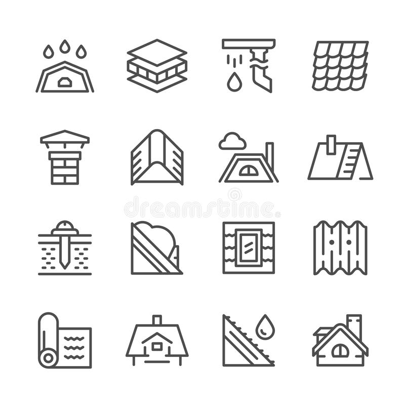 Set line icons of roof. Isolated on white. Vector illustration stock illustration